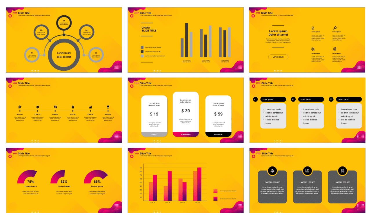 Yellow business analysis Free google slides template