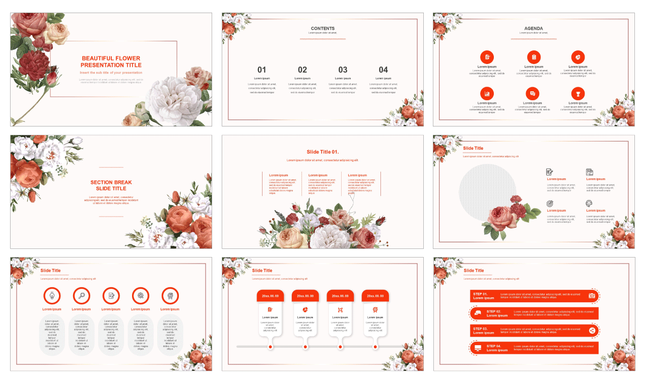 Beautiful Flower Free powerpoint Templates