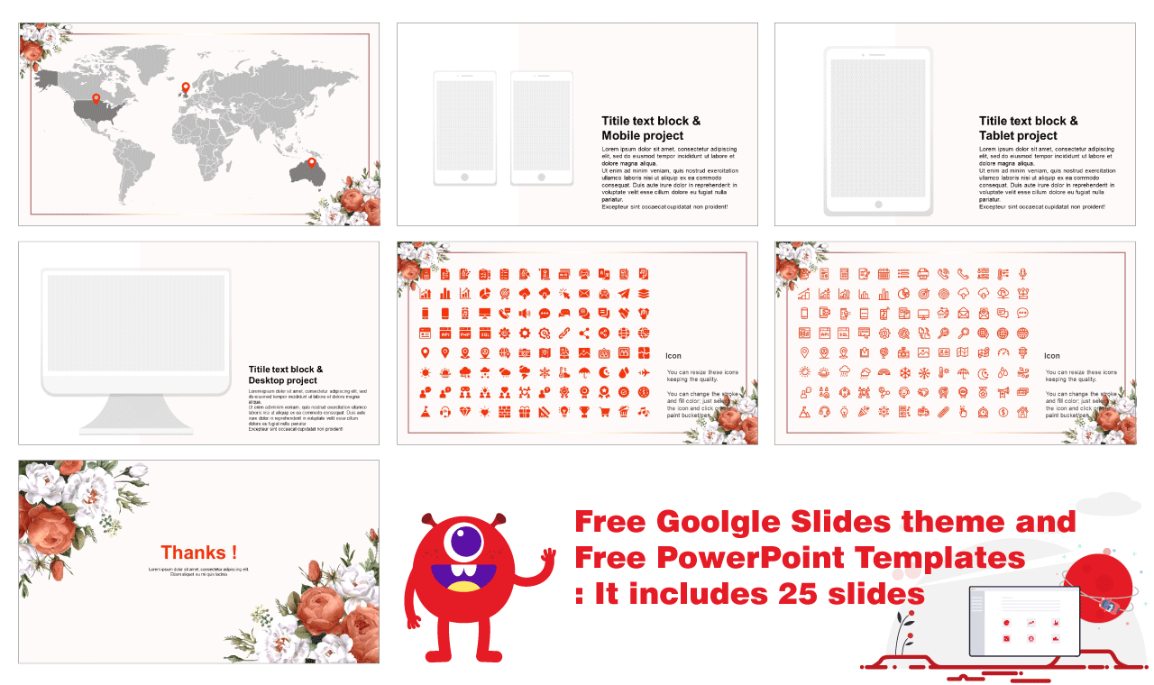 Beautiful Flower Free google slides theme