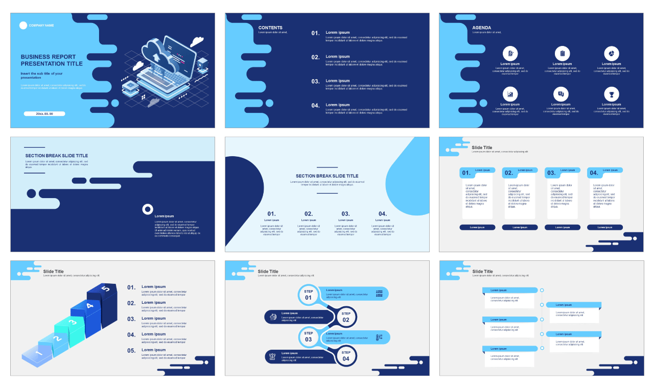 Blue business report design Free google slides theme and powerpoint templates