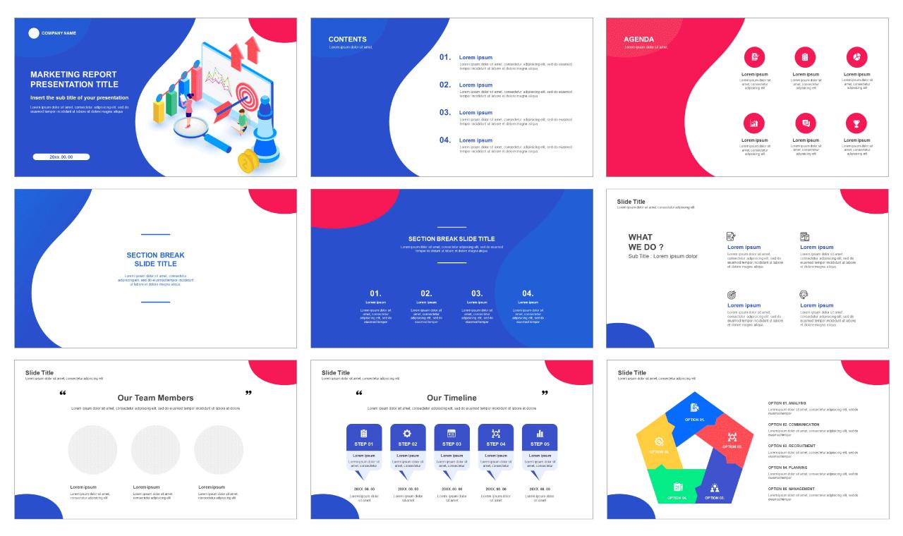 Marketing Report Free google slides theme