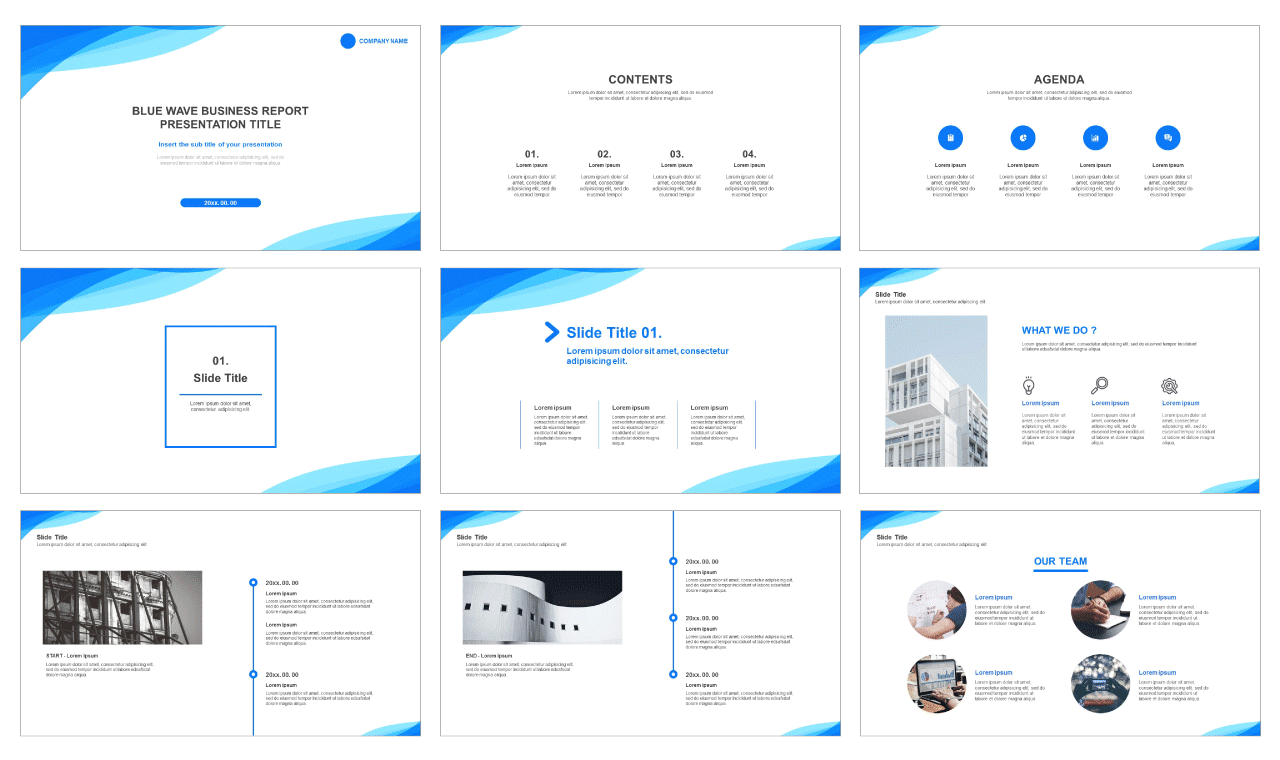 Blue wave business report Free PPT powerpoint template and google presentation slides theme - PPTMON