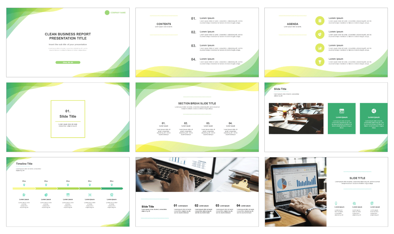 Clean business report Free powerpoint template and google slides theme-PPTMON