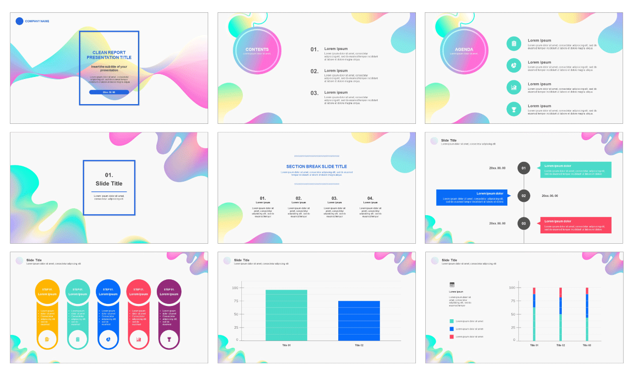 Clean report Free powerpoint PPT template and google sldies presentation theme by PPTMON