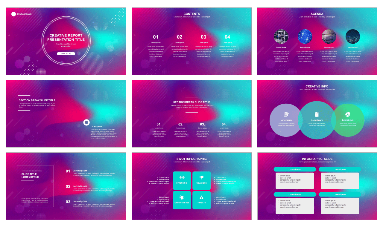 Creative report free PPT template and google presentation theme - PPTMON