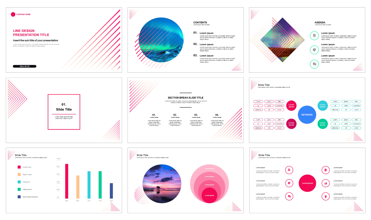 01-Line design Free powerpoint PPT template and Google slides presentation theme - PPTMON