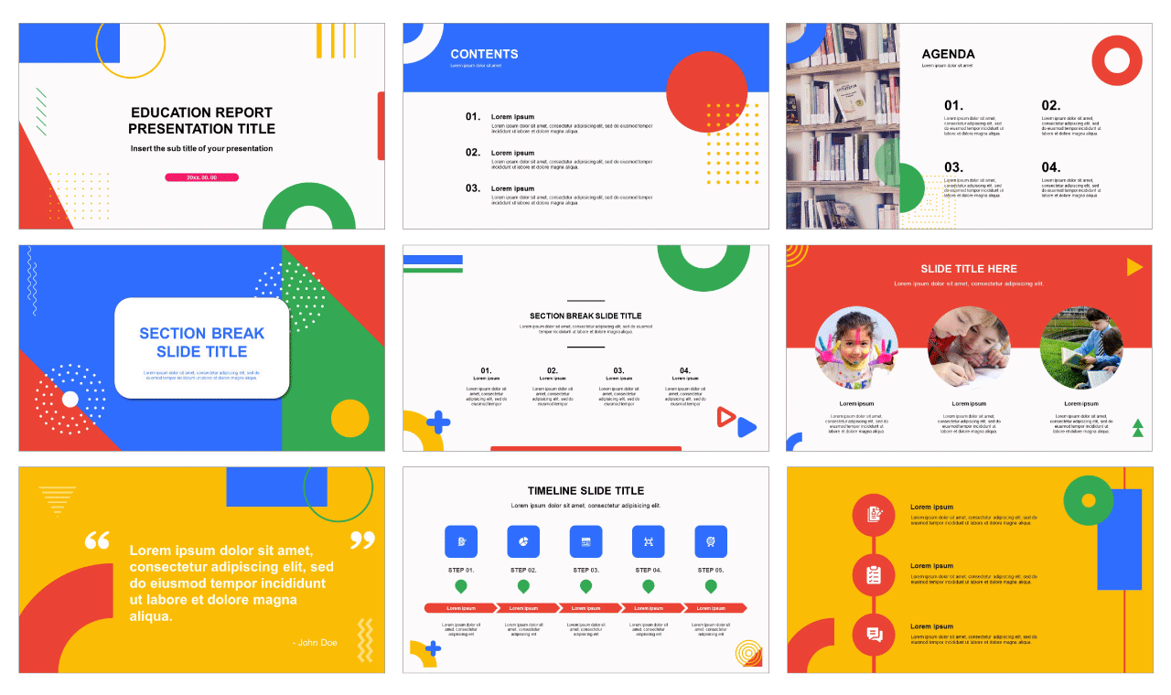Education Report Free ppt template and Google sldies theme