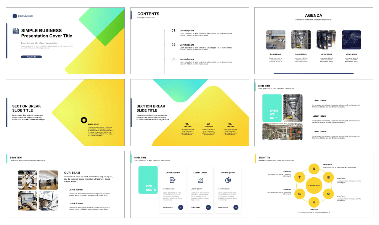 Simple business presentation templates