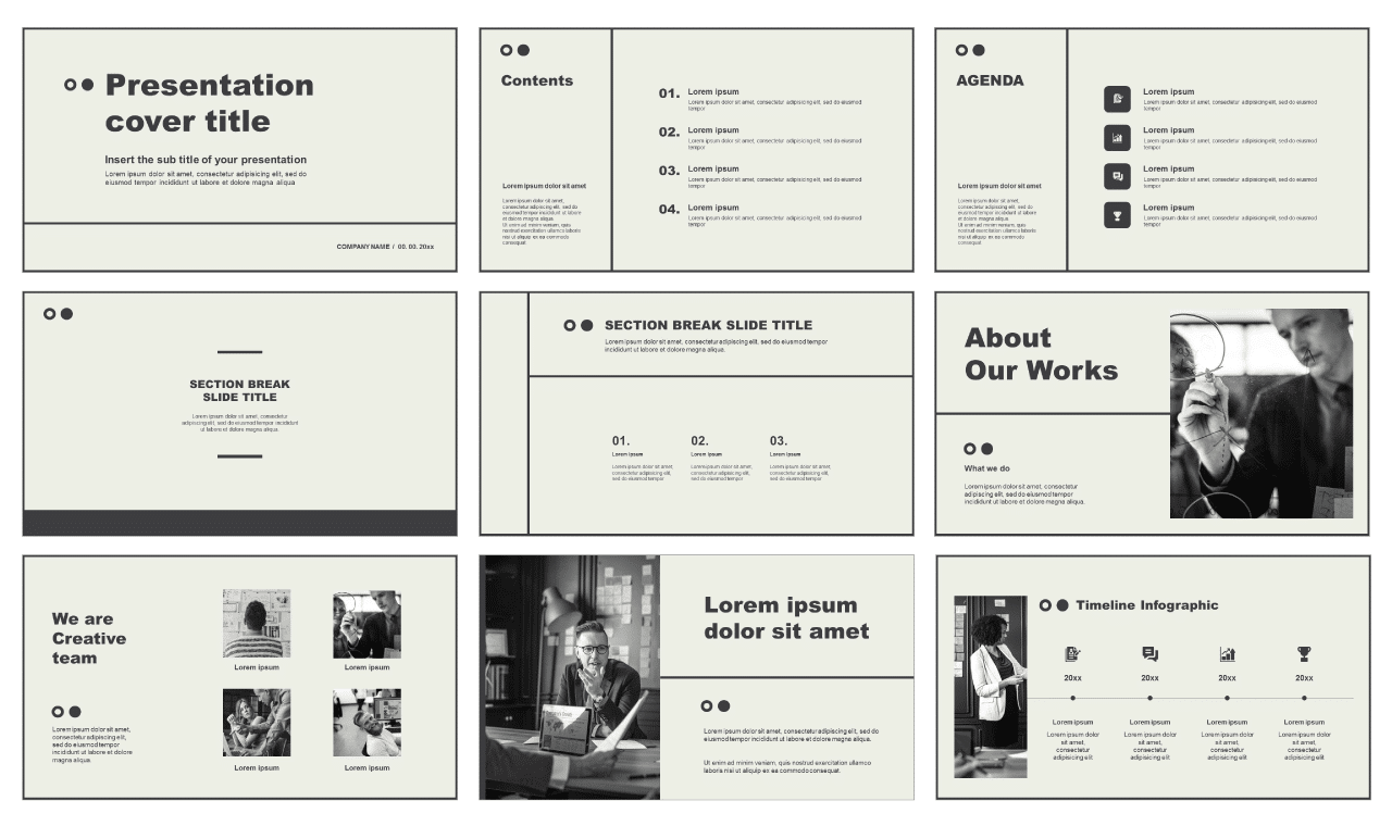 Grayscale Free powerpoint templates