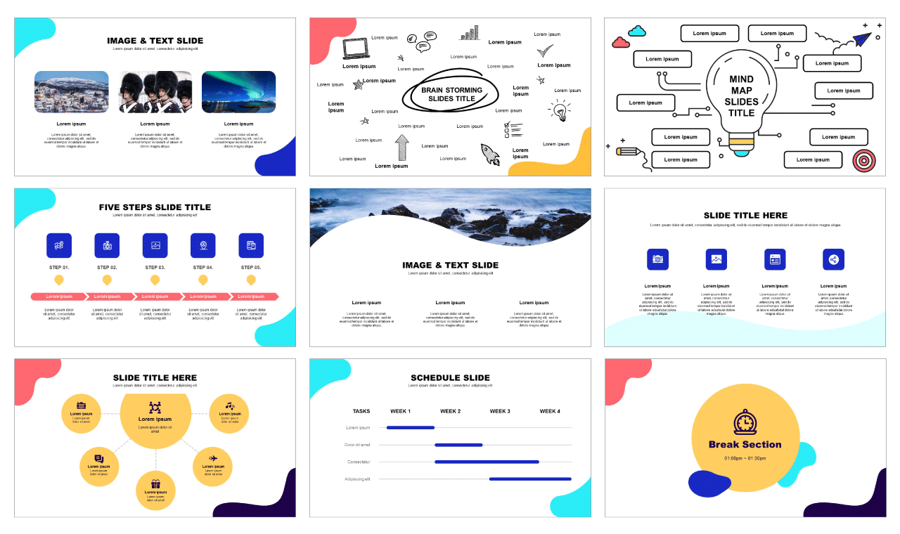 Wave Google slides theme