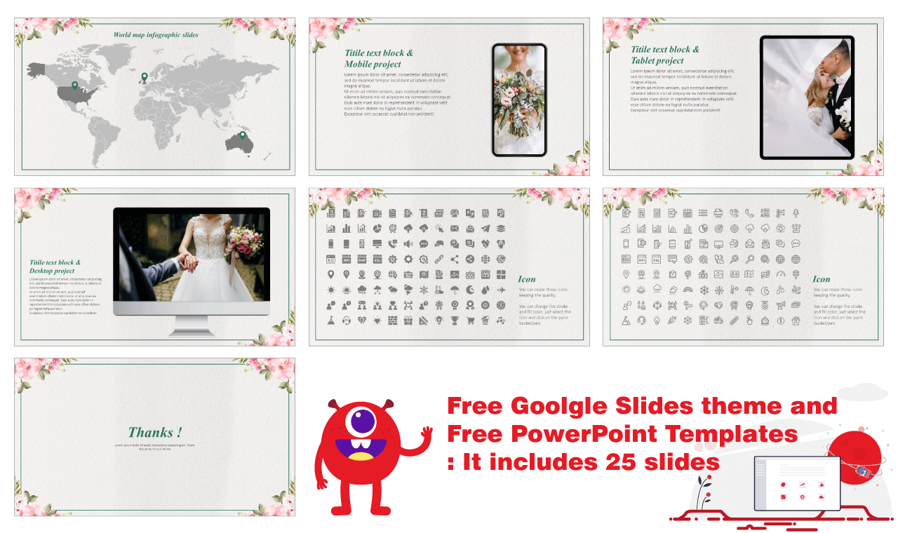 Beautiful Wedding Device Free Google Slides PowerPoint templates