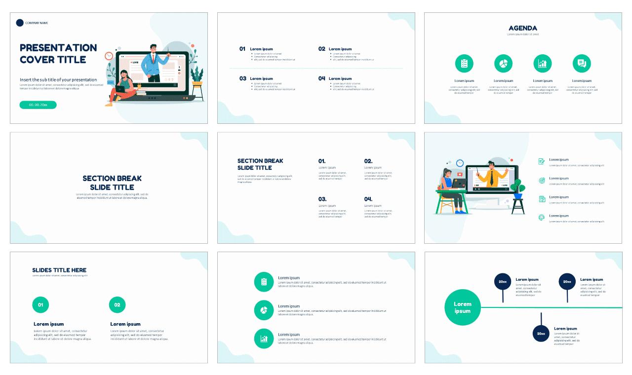 Online Education e-learning Free Google Slides Themes