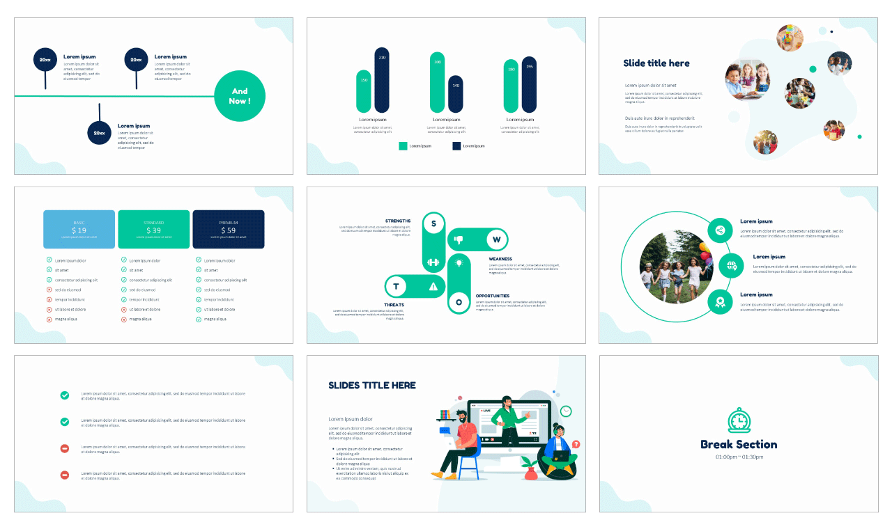 Online Education e-learning Free PowerPoint Templates