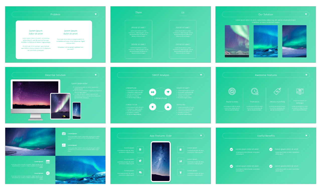 App Web Showcase PPT Templates Free Download