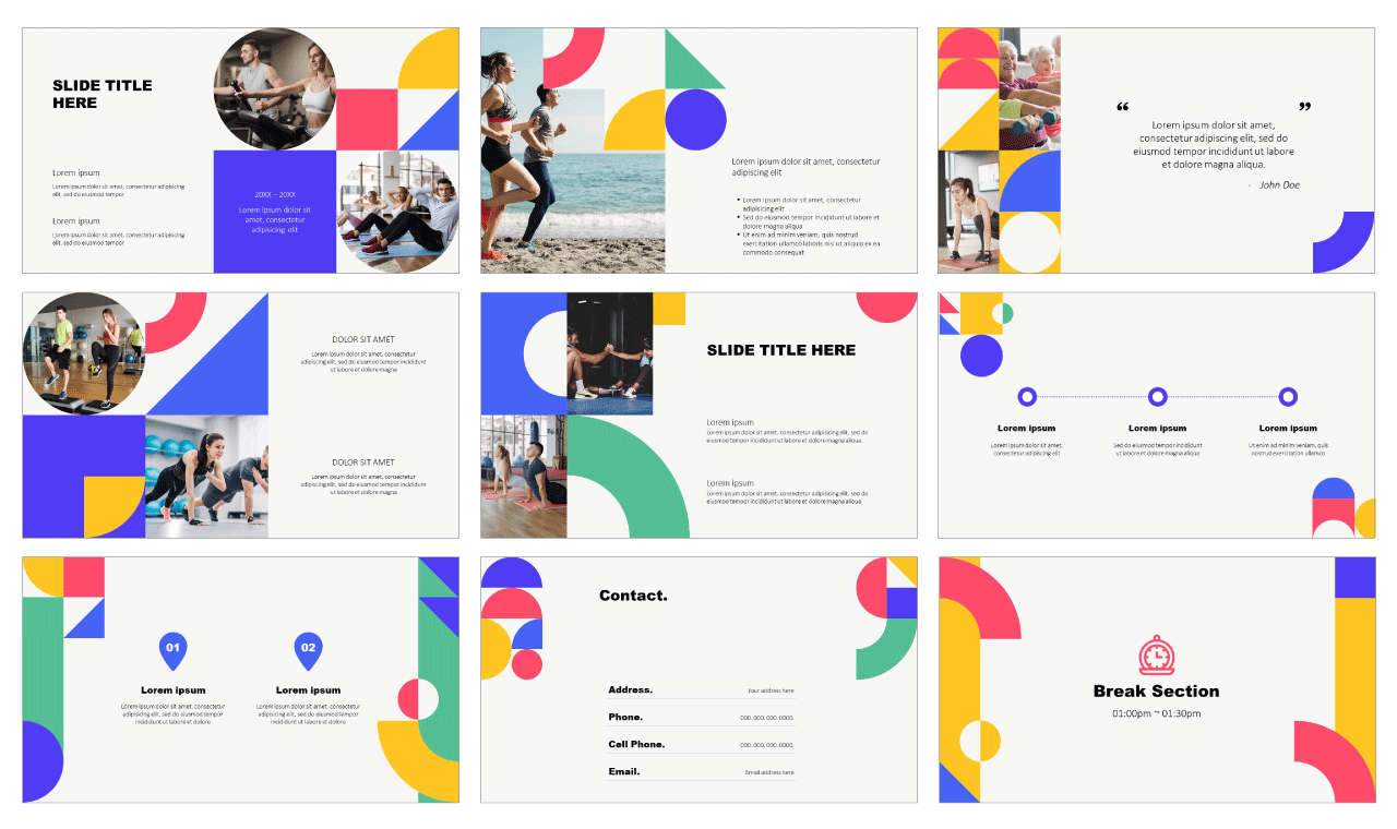 Fun Geometric LOOKBOOK Free Google Slides Themes
