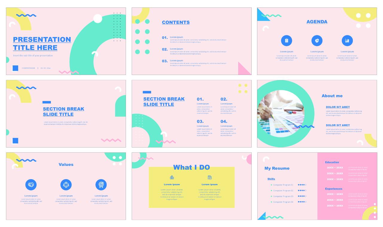 Memphis Portfolio Free Google Slides Theme PowerPoint Templates
