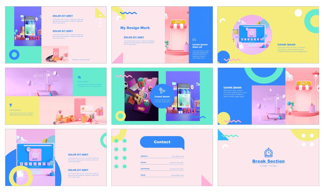 Memphis Portfolio Free PowerPoint Templates Google Slides Theme