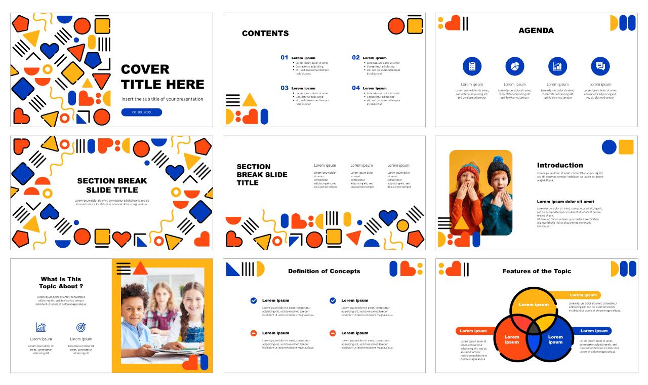 Shapes design education Free Presentation PowerPoint Templates Google Slides Themes