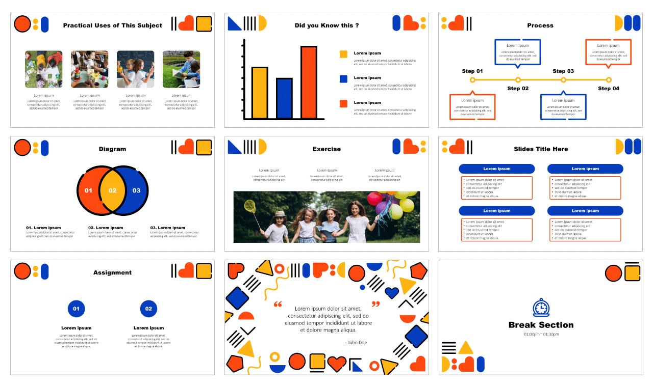 Shapes design education Google Slides Themes