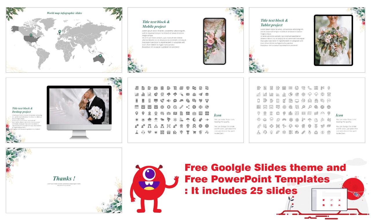 Bridal shower invitations Presentation Design Google Slides themes PowerPoint Templates Free download