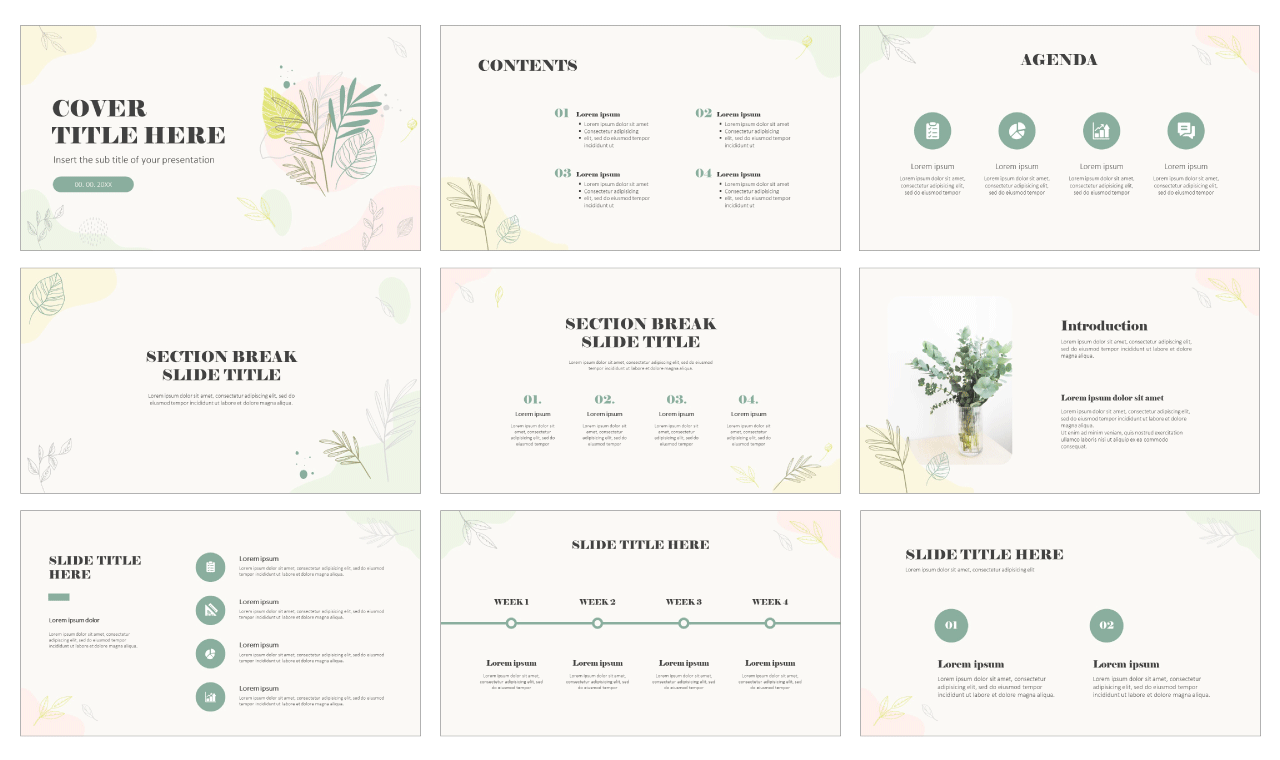 Organic Hand-drawn brush Free Google Slides PowerPoint templates