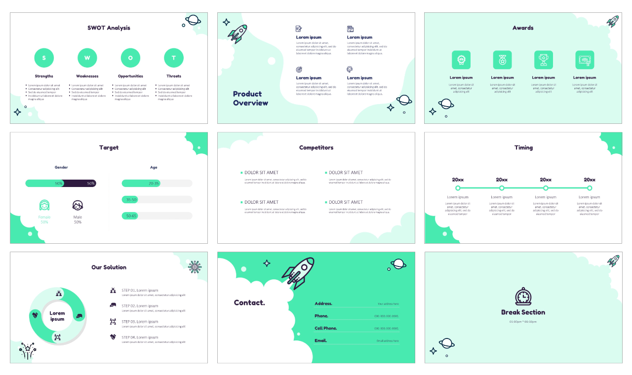 Startup Rocket Launch Google Slides Themes for presentation design