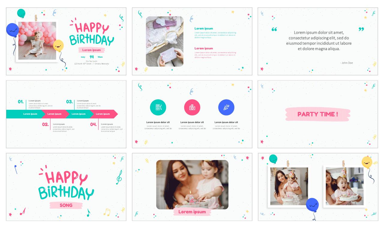 Childrens birthday Free Google Slides Theme