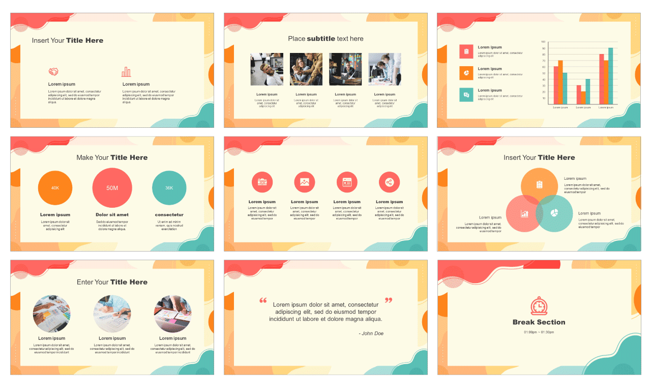 Colorful creative wave free powerpoint template