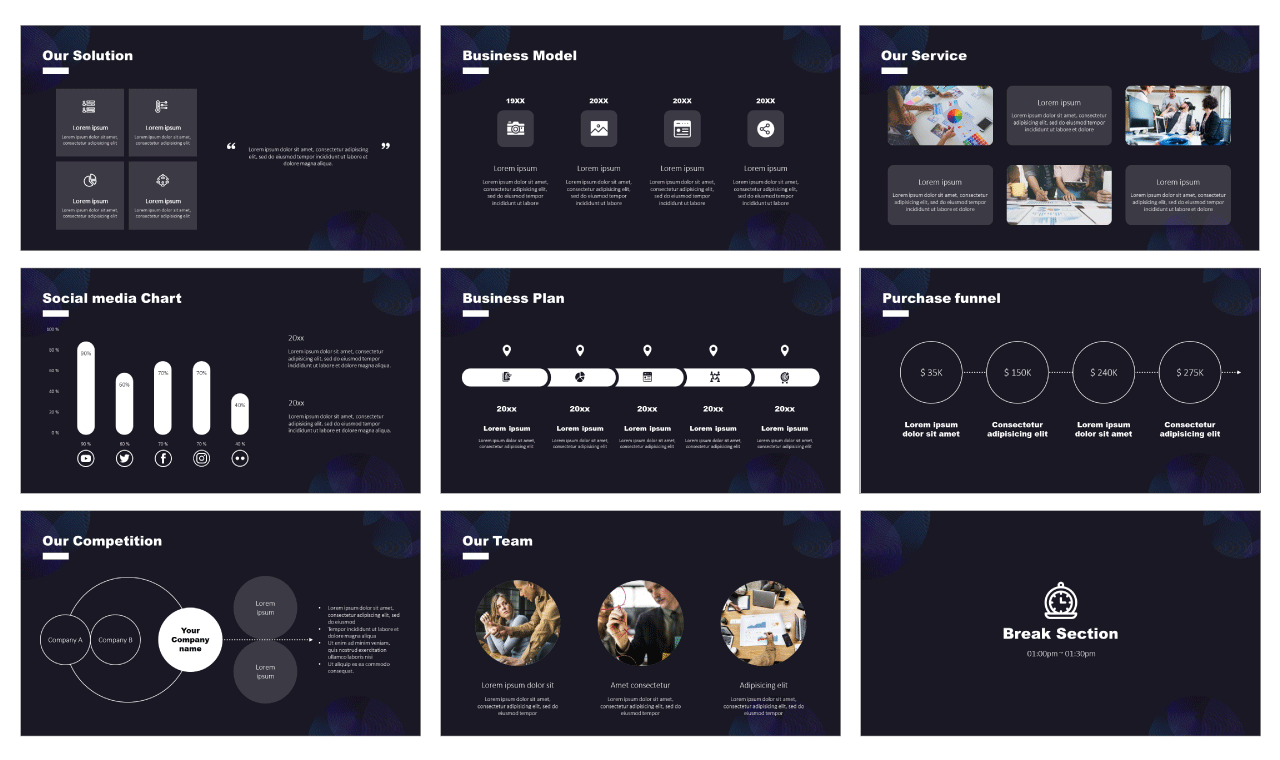 Multi purpose Pitch Deck PowerPoint Templates Free download
