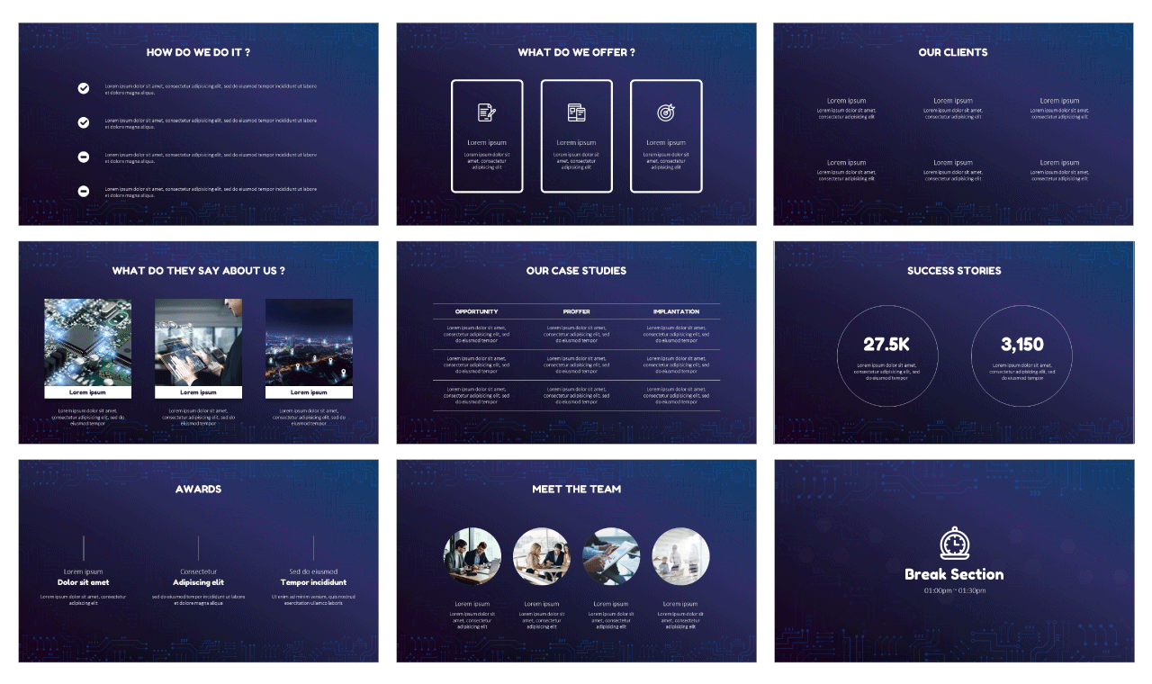 Technology Network Google Slides PowerPoint Templates Free download