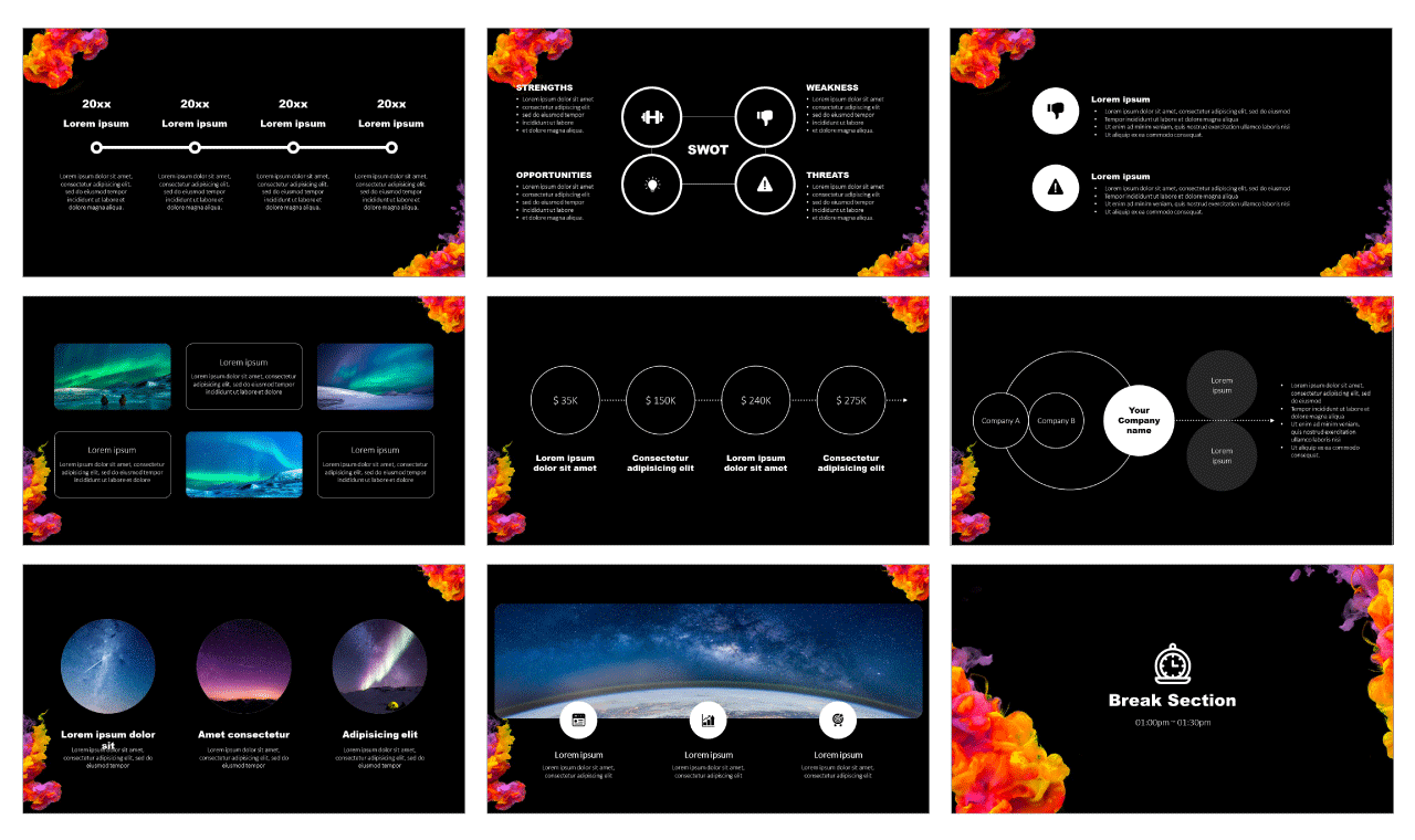 Acrylic Color Ink PowerPoint Templates Google Slides Theme Free download