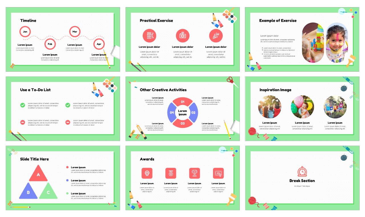 Art Education Studio Google Presentation PowerPoint Background Design Templates