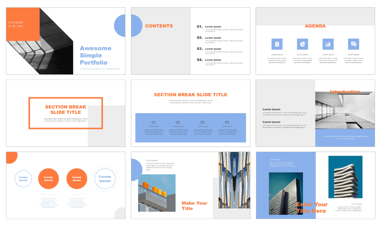 Awesome Simple Portfolio Free Google Slides Themes PowerPoint Templates
