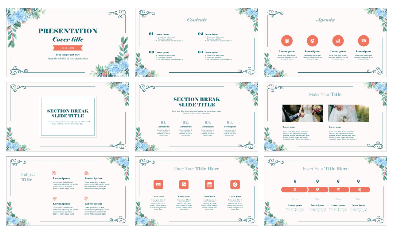 Charming Floral Frame Free Google Slides Theme PowerPoint Template