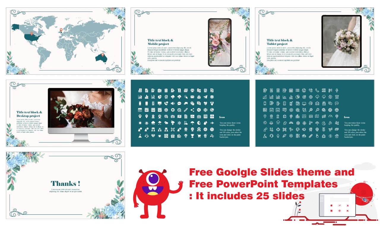 Charming Floral Frame Presentation Background design Google Slides PowerPoint