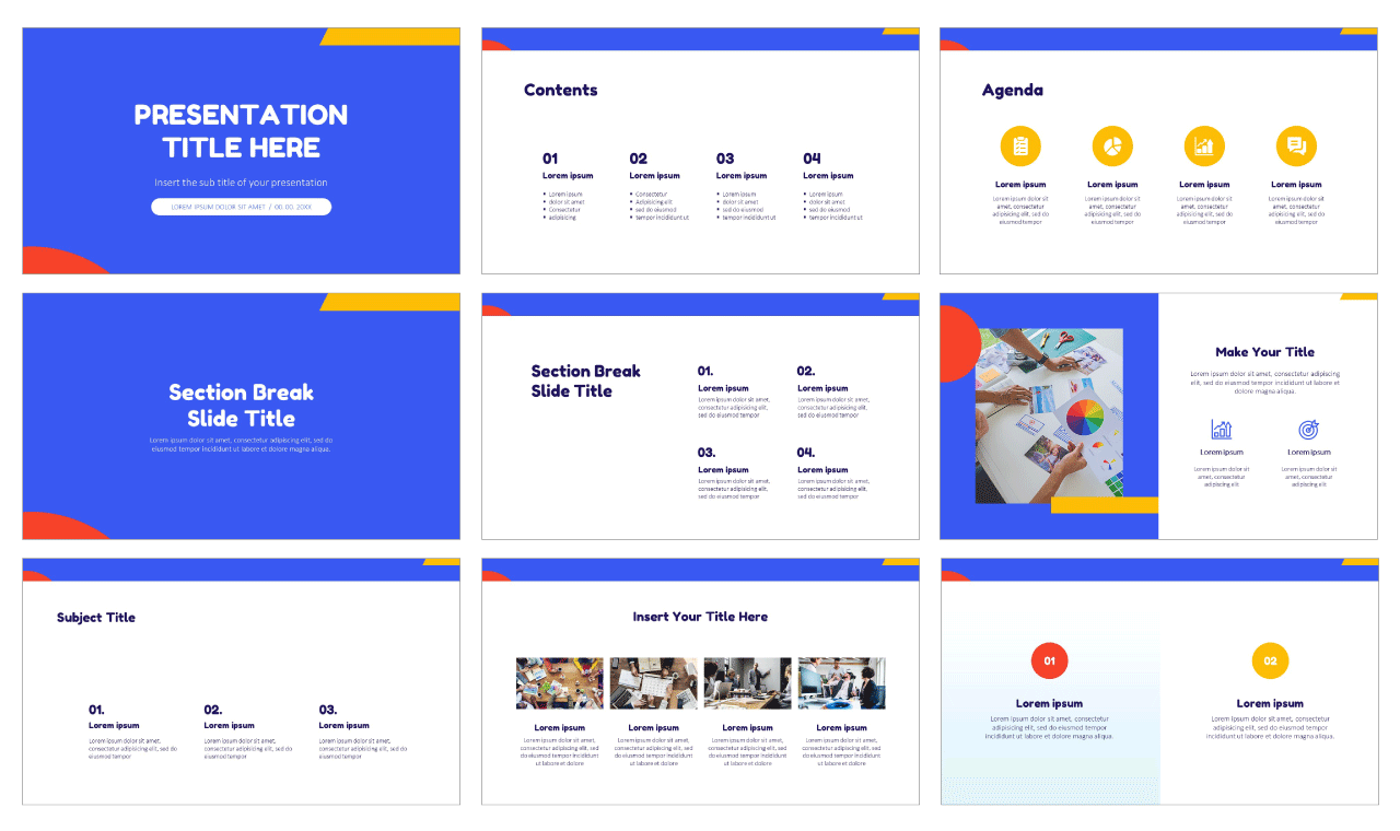 Colorful Flat Shapes Free Google Slides Theme PowerPoint Templates
