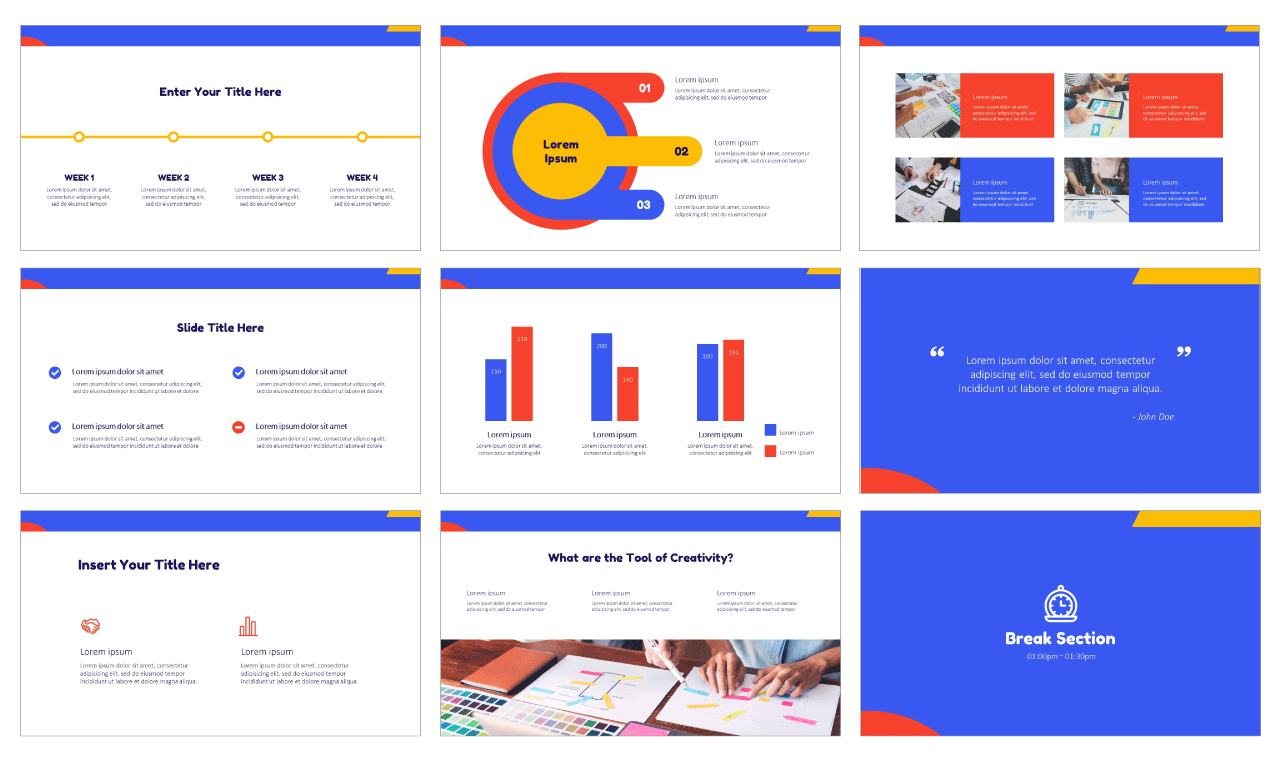 Colorful Flat Shapes Google Slides PowerPoint Template Design Free download
