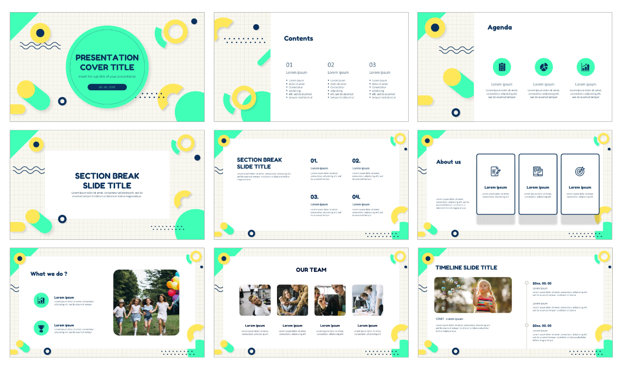 Creative Geometric Grid Free Google Slides Theme PowerPoint Template