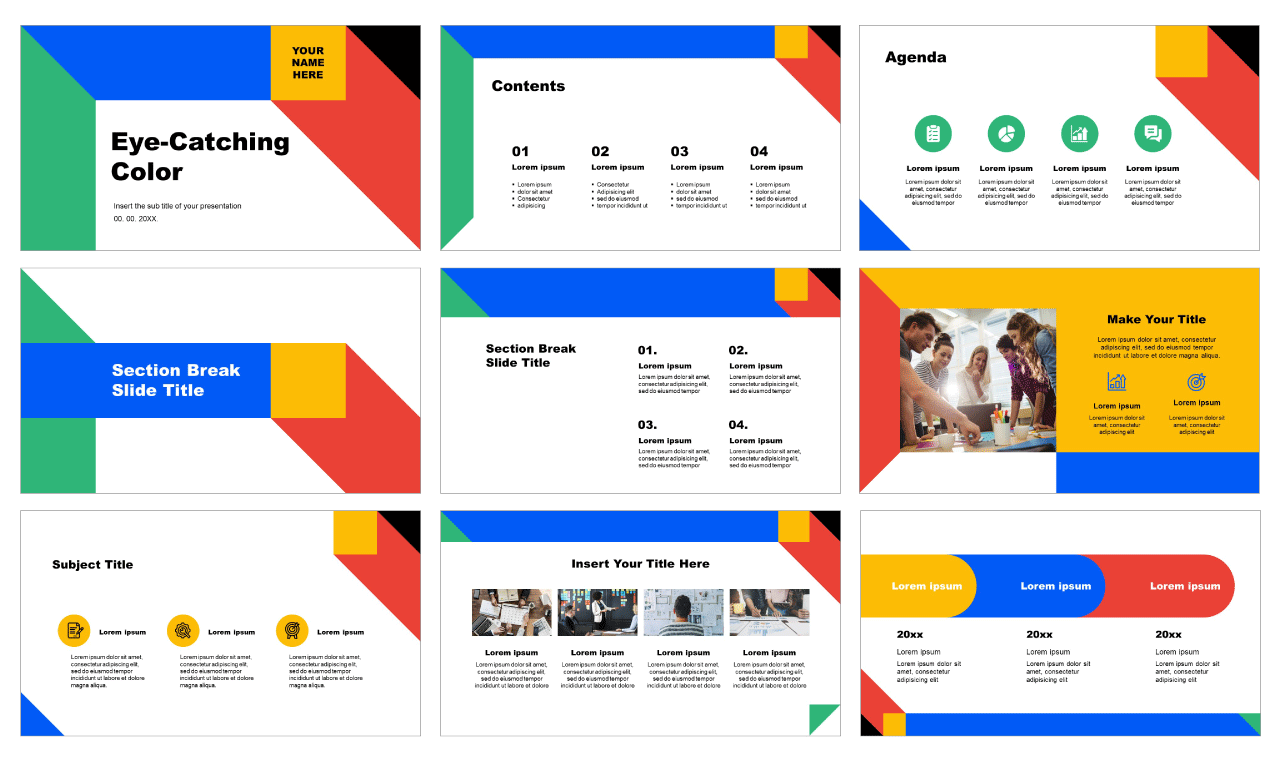 Eye-Catching Color Free Google Slides Themes