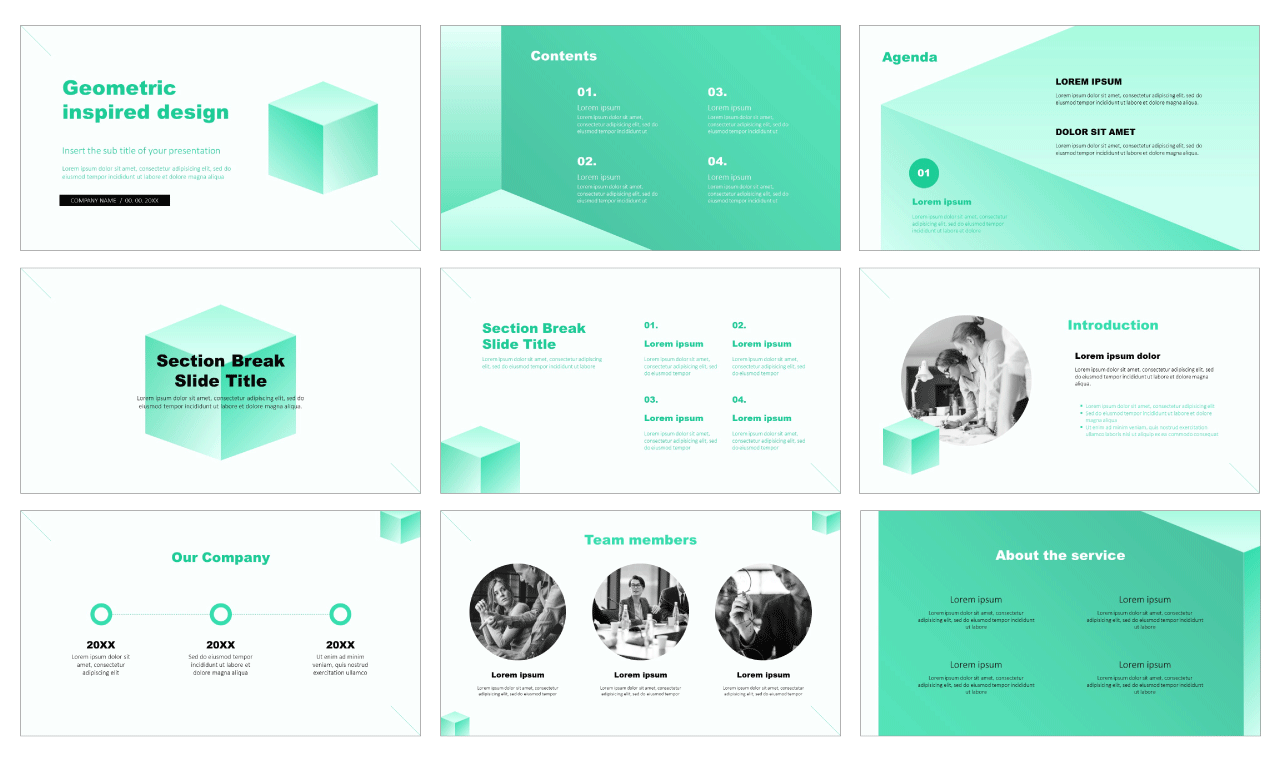 Geometric inspired design Free Google Slides PowerPoint Templates