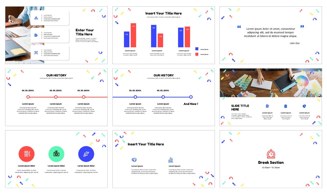Memphis Pattern Design Free PowerPoint Templates Design Theme
