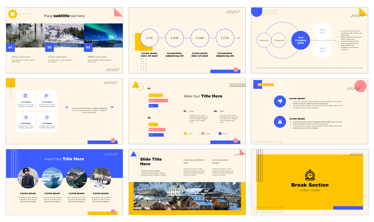 Minimal Memphis Design Free PowerPoint Google Slides Design download