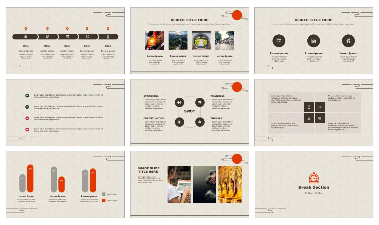 Oriental pattern design PowerPoint Templates Google Slides theme Free download