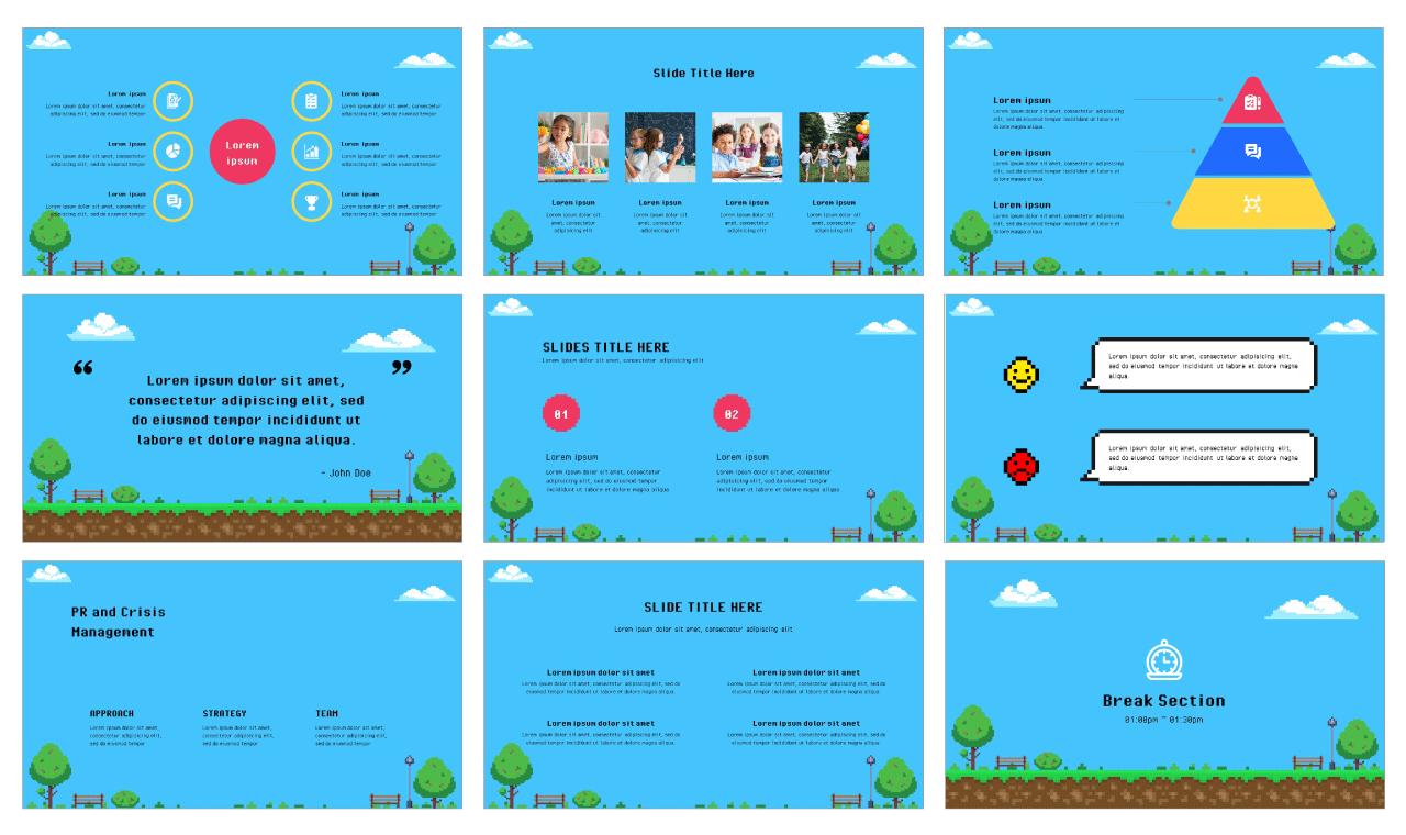 Pixel Art Google Slides PowerPoint Templates Free download