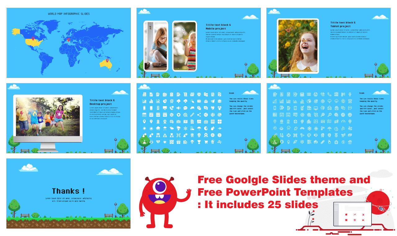 Pixel Art Presentation Background Design Free Google Slides PowerPoint Templates