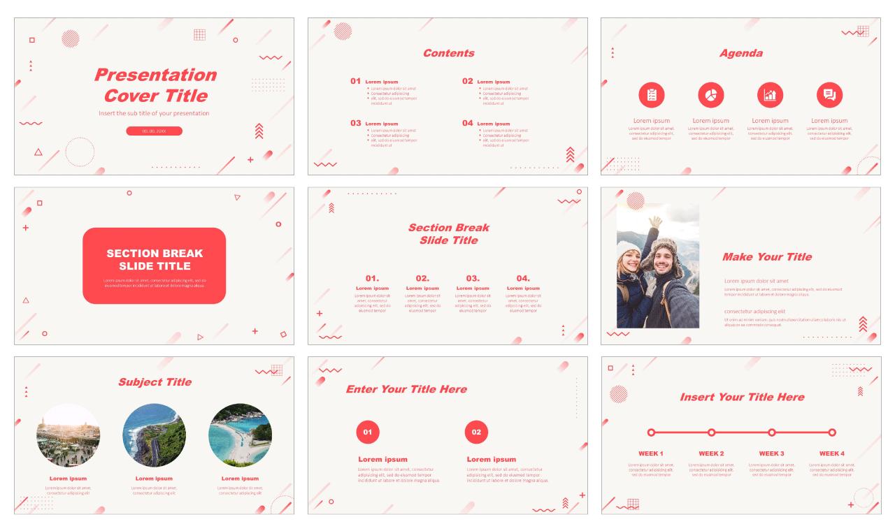 Bright Redtone Geometric Free Google Slides theme PowerPoint template