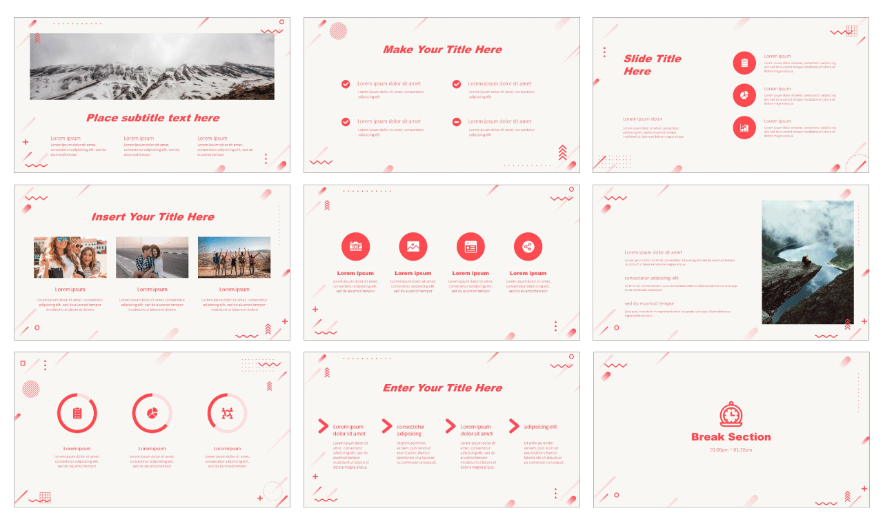 Bright Redtone Geometric Google Slides PowerPoint Background Design theme templates Free download