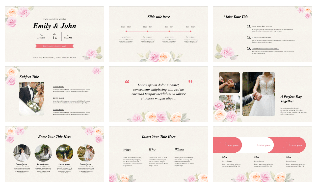 Floral engagement invitation Free Google Slides theme PowerPoint template
