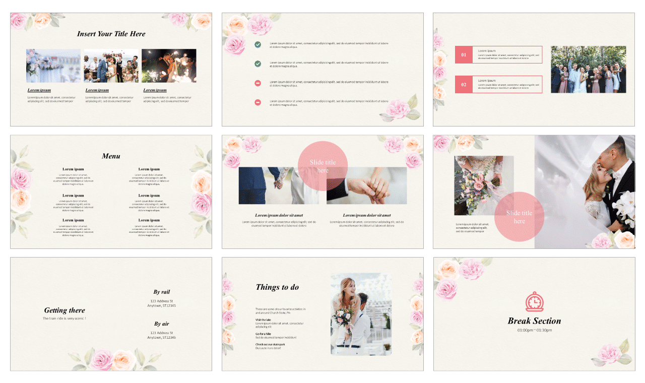 Floral engagement invitation Google Slides Themes PowerPoint Templates Free download