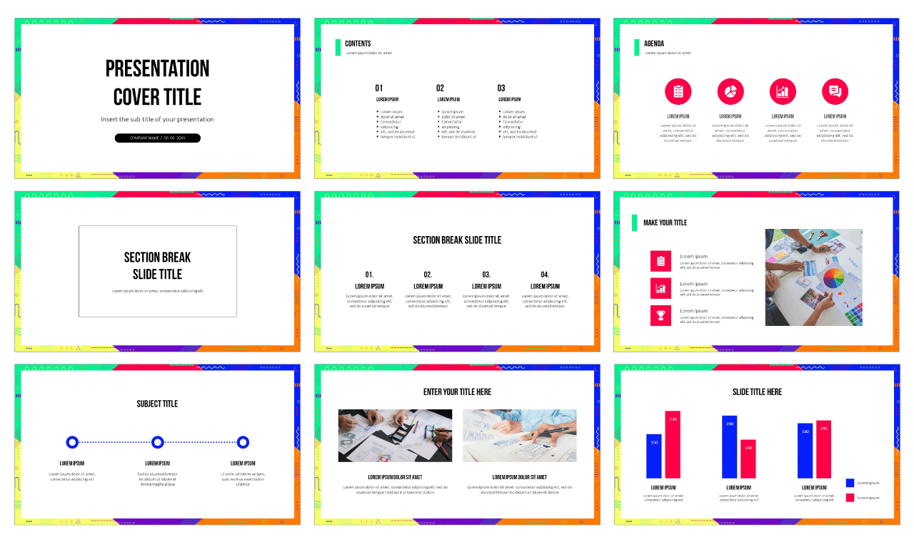Funky Geometric Frame Free Google Slides themes PowerPoint templates